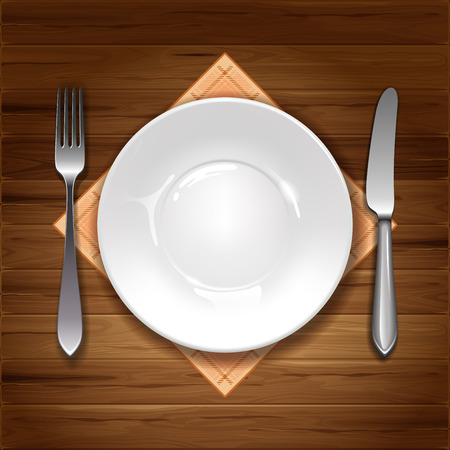 Clean plate with knife, fork and napkin on wooden background. Ilustração