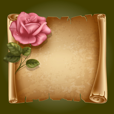 Horizontal old scroll paper with beautiful rose and space for your text