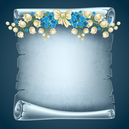 life event: Vertical old scroll paper with beautiful flowers and space for your text