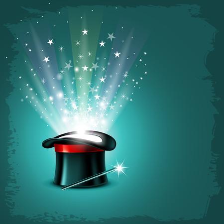 mago: Fondo de la vendimia con el sombrero del mago, varita mágica y el brillo