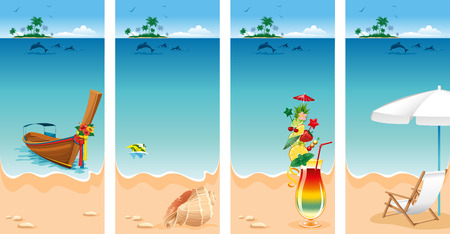 breezy: Set of four banners on vacations theme. Relaxing scene on a breezy day at the tropical beach.