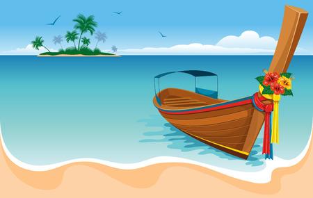 Long tail boat on the tropical beach Иллюстрация