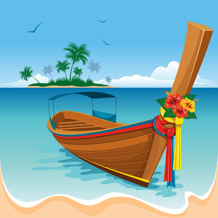 Long tail boat on the tropical beach Illustration