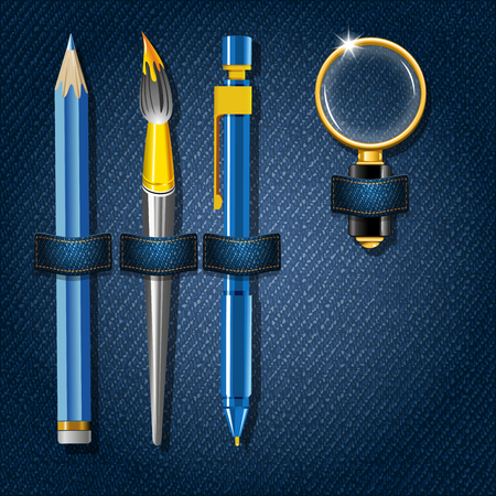 jeans background: Back to school. Jeans background with school supplies. Vector illustration. Illustration