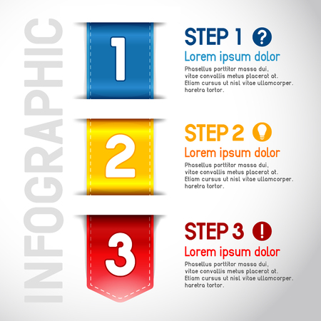 manual: Progress steps for tutorial, product choice or user manual. Vector. Illustration