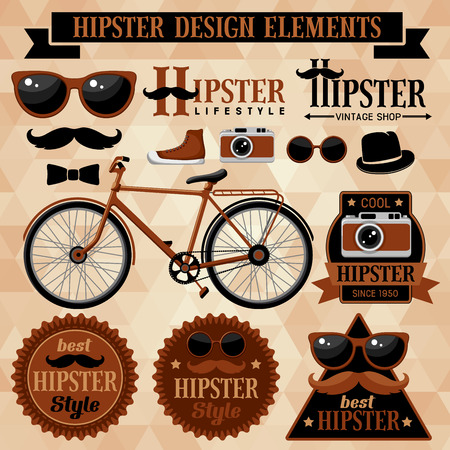 Hipster set with bicycle, labels and inscriptions