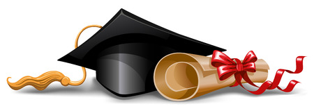 rolled: Graduation cap and diploma. Vector illustration.