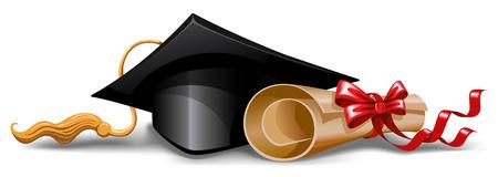 Graduation cap en diploma. Vector illustratie.