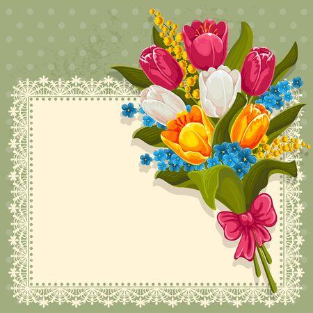 mimose: Vintage sfondo con bouquet di fiori primaverili. Tulipani, ti scordar di me e mimose.