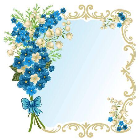 Carino biglietto di auguri con bouquet di fiori primaverili e posto per il testo