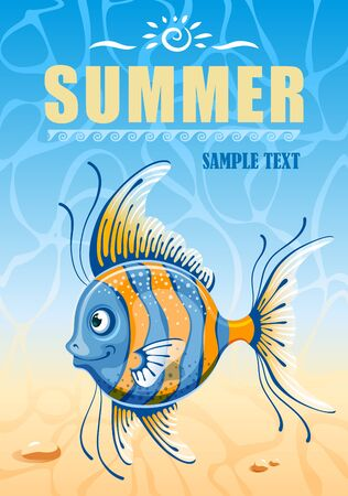 exotic fish: Marine background with exotic fish. Vintage vector poster.