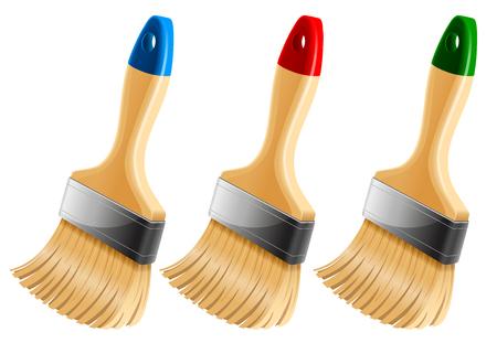 splotches: Set of three paint brushes. Vector illustration.
