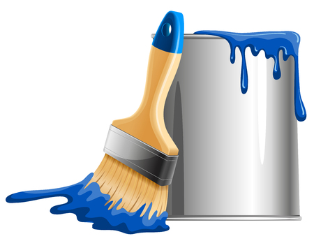 wet paint: Bucket of blue paint and brush. Vector illustration.