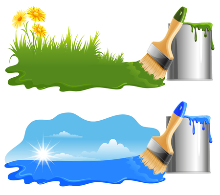 Drawing a green grass and blue sky by paint on a white background. Ecology Concept. Stock fotó - 55910498