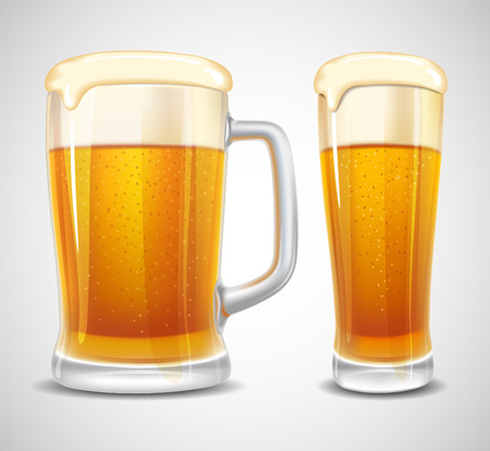 Beer in glass and mug. Realistic vector.