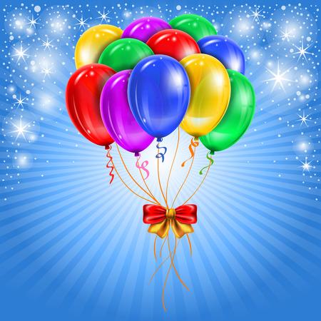 Fondo festivo con los globos multicolores. Vector.