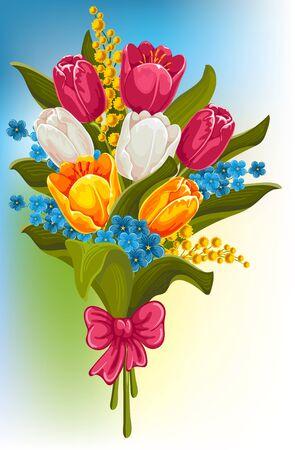mimose: Bouquet di fiori primaverili. Tulipani, ti scordar di me e mimose. Vettoriali