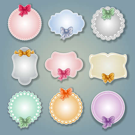 satin round: Set of gift tags with bows. Vector illustration.