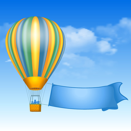 soaring: Vintage air balloon and message on banner soaring in the sky with clouds.