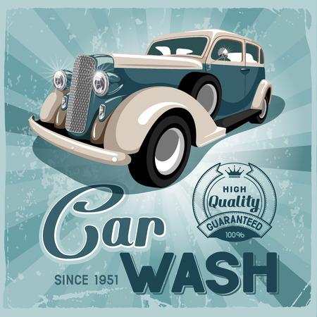 Auto service retro poster. Grungy style vector design. Ilustração