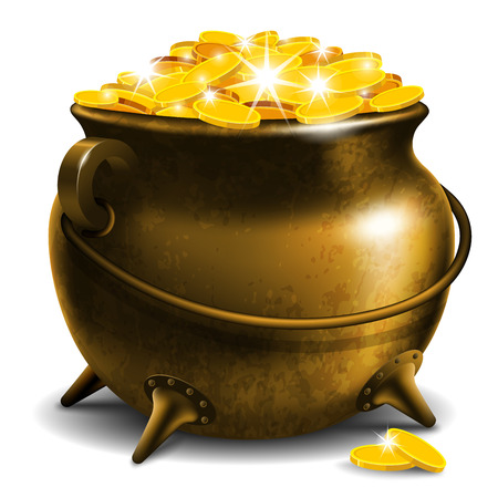 Old pot with gold coin Illustration