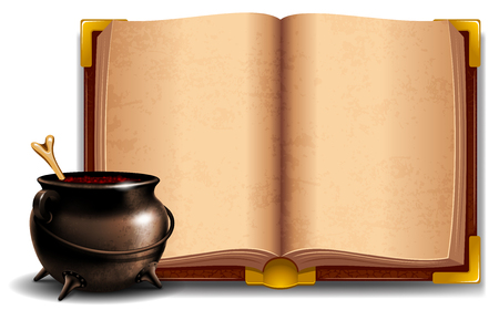 bewitchment: Witches cauldron with potion and magic book isolated on white background