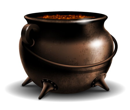 Witches cauldron with potion isolated on white background