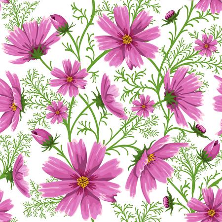 美しいピンクのお花畑でシームレス花柄背景