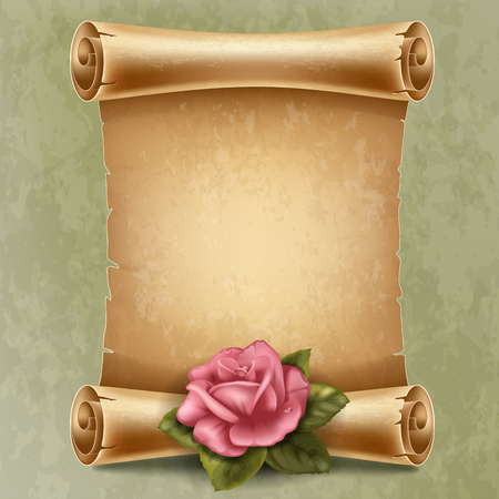 Vertical old scroll paper with beautiful rose and space for your text Vettoriali