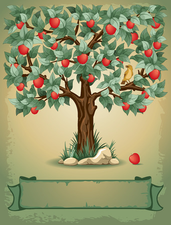 appletree: Vintage background with apple tree and place for your text