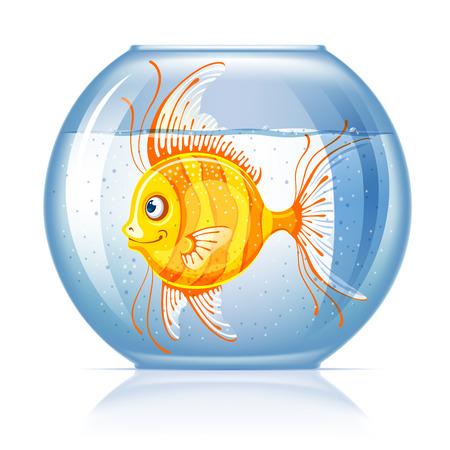 Beautiful lonely golden fish in round aquarium Illustration