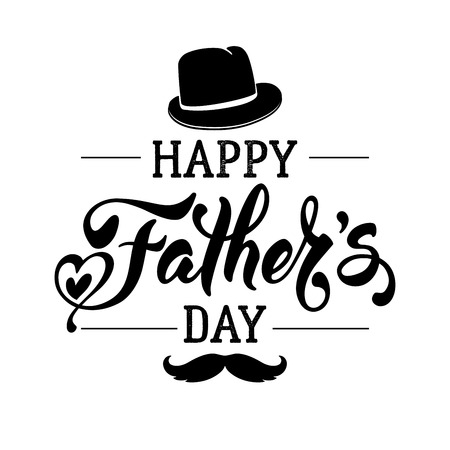 fedora: Fathers Day Lettering Calligraphic Design Isolated on White Background. Happy Fathers Day Inscription with fedora and mustache. Vector Design Element For Greeting Card and Other Print Templates.
