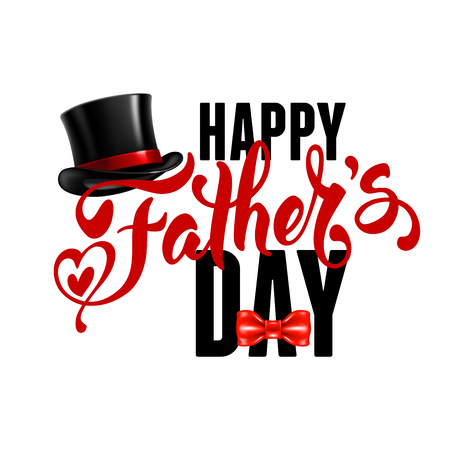 fedora: Fathers Day Lettering Calligraphic Design Isolated on White Background. Happy Fathers Day Inscription with fedora and bow tie. Vector Design Element For Greeting Card and Other Print Templates. Illustration