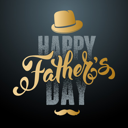 fedora: Fathers Day Lettering Calligraphic Design. Happy Fathers Day Inscription with fedora and mustache. Vector Design Element For Greeting Card and Other Print Templates.