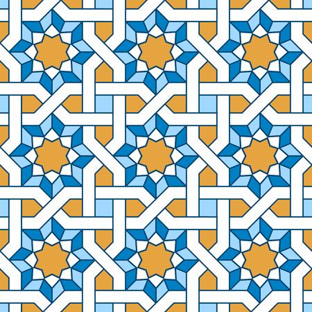 Arabic seamless pattern. Pattern fills with intertwining lines. Oriental, arabic style. Mosaic seamless patterns. Arabic ornaments. Vector illustration. Ilustração