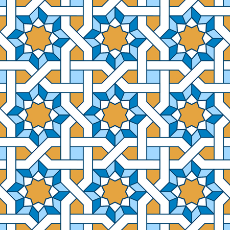 seamless arabo. Riempimenti a motivo con linee che si intrecciano. Orientale, in stile arabo. Mosaico modelli senza soluzione. ornamenti arabi. Illustrazione vettoriale. Vettoriali