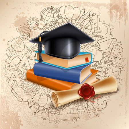 Black graduation cap on stack of books and diploma on doodle hand drawn background with different school objects. Back to school concept. Congratulation Graduation. Vector illustration.