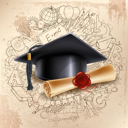 Zwarte afstuderen cap en diploma op doodle hand getekende achtergrond met verschillende school objecten. Terug naar school concept. Graduatiegelukwens. Vector illustratie.