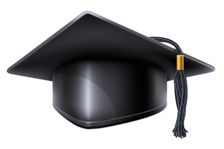 tassel: Black graduation cap with black and gold tassel. Isolated on white background. Graduation concept. Graduation icon. Vector illustration.
