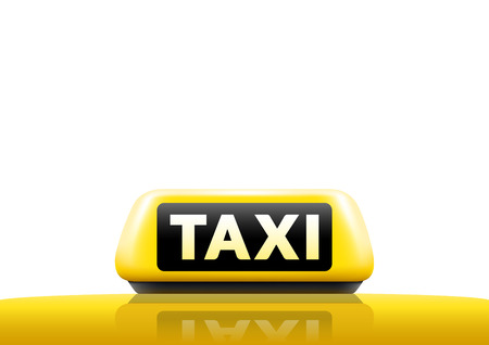 taxi sign: Luminious taxi sign isolated on white background. Taxi sign on the roof of car. Vector illustration. Illustration