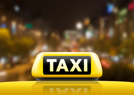 taxi sign: Taxi car on the street at night. Luminious taxi sign on bokeh background. Taxi sign on the roof of car. Vector illustration. Illustration