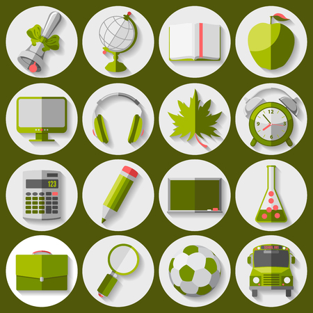 retort: Set of education and school icons in flat style