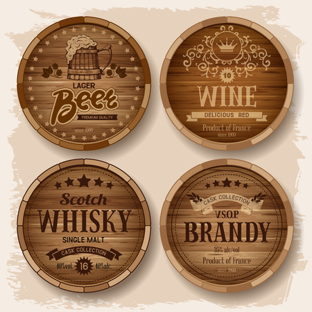 brandy: Set of wooden barrels with alcohol drinks emblems. Vector illustration Illustration