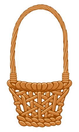 wickerwork: Straw basket isolated on white background