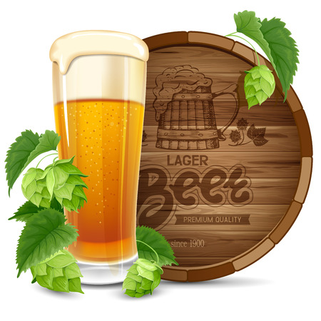hops: Glass of beer, barrel and hops isolated on white background