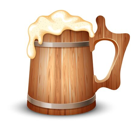 froth: Wooden mug full of beer, with froth, vector illustration