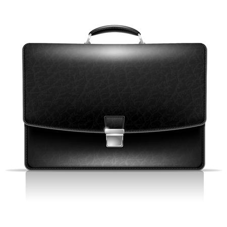 black briefcase: Realistic vector image of elegance leather black briefcase