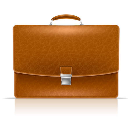 Realistic vector image of elegance leather brown briefcase