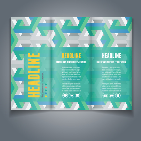 broshure: Vector Tri-fold broshure  flyer layout template with abstract 3D isometric background. Modern trendy design.