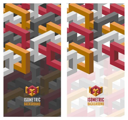 broshure: Vector broshure  flyer layout template with abstract 3D isometric background. Modern trendy design.